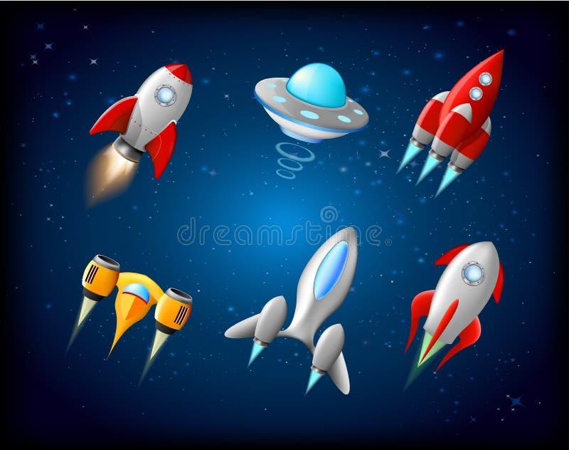 Wektorowy statek kosmiczny i UFO wektorowy ustawiający w kreskówka stylu Rakieta i statek kosmiczny, futurystyczny transport, ink royalty ilustracja