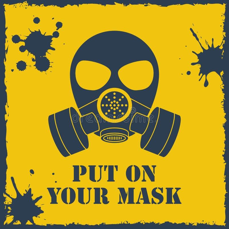 Wektorowy stawiający na twój biohazard masce ilustracji
