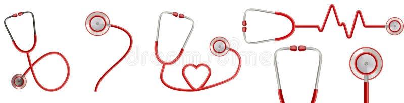Wektorowy stetoskop ikon projekt na whitee tle ilustracji