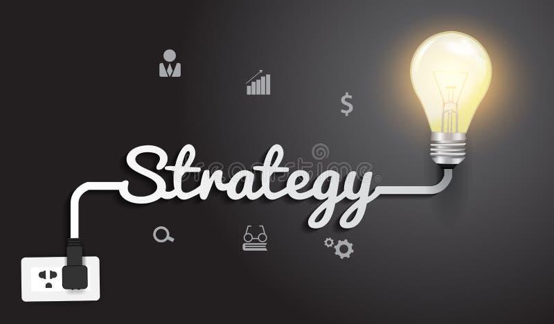 Wektorowy strategii pojęcie z kreatywnie żarówką ja ilustracja wektor