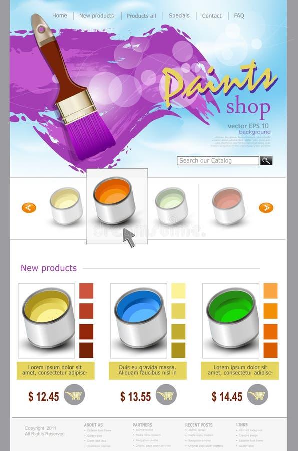Wektorowy strona internetowa szablonu farby sklep ilustracja wektor