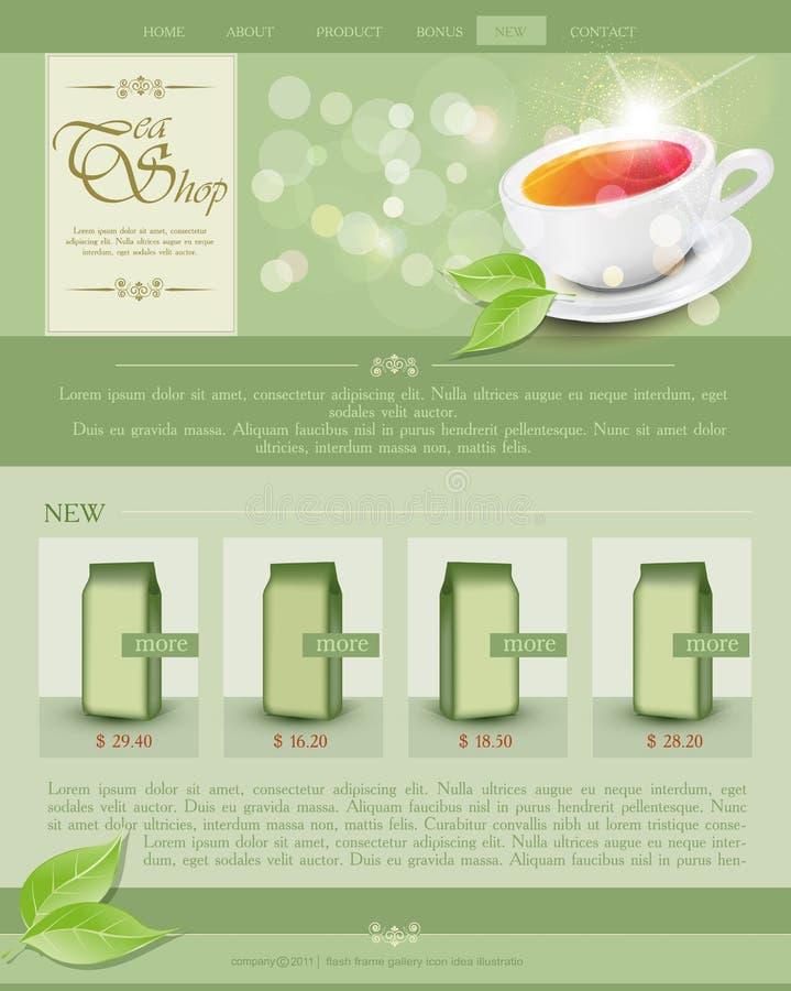 Wektorowy strona internetowa szablonu herbaty sklep royalty ilustracja