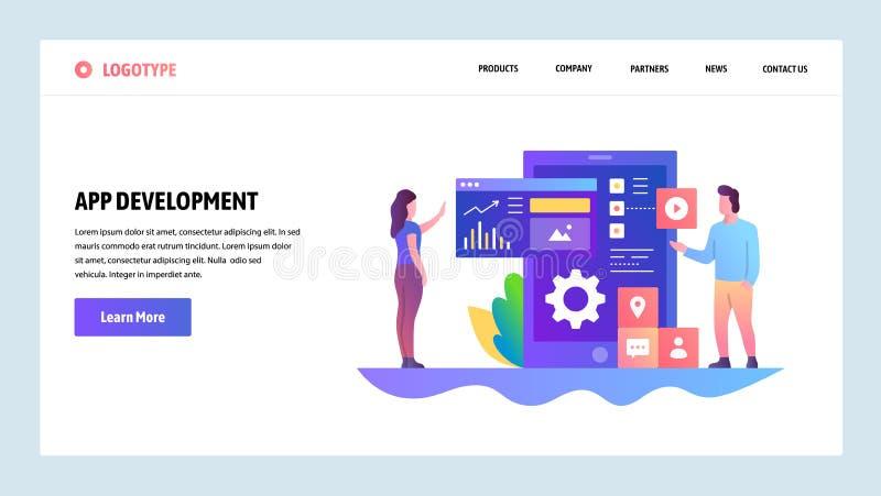 Wektorowy strony internetowej projekta szablon App rozwój, wiszącej ozdoby UI UX projekt, deska rozdzielcza Desantowi stron pojęc ilustracji