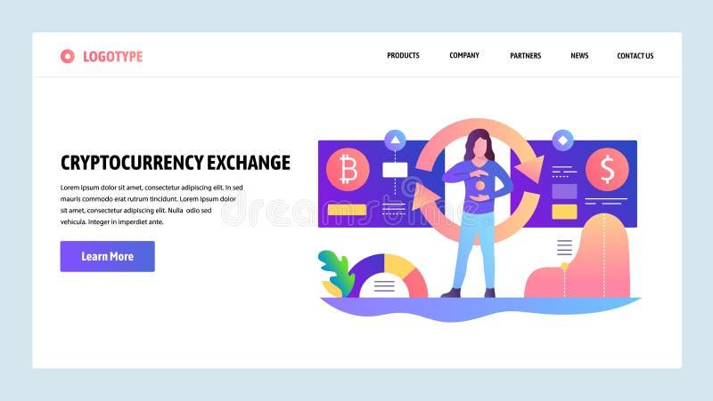 Wektorowy strony internetowej projekta szablon Cryptocurrency wymiana, bitcoin dolarowy tempo Desantowi stron pojęcia dla strony  ilustracji