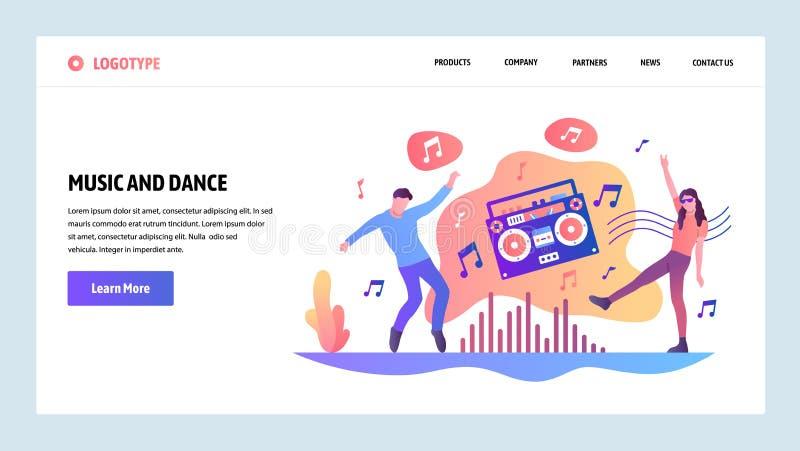 Wektorowy strony internetowej projekta szablon Ludzie słucha muzykę i tana Desantowi stron pojęcia dla strony internetowej i wisz ilustracja wektor