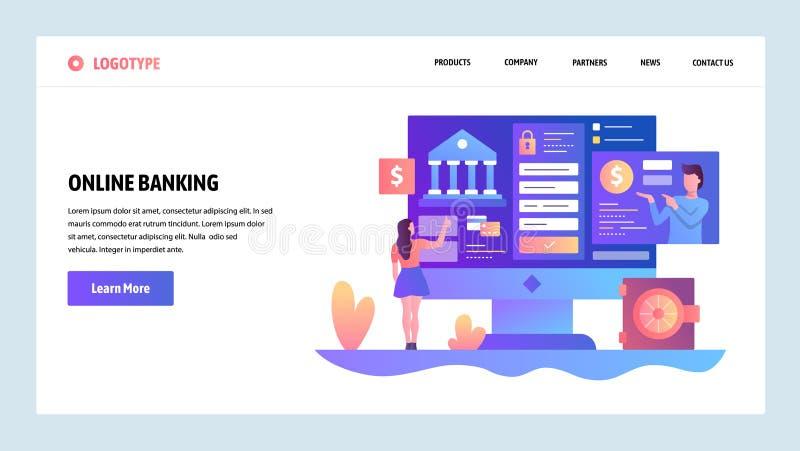 Wektorowy strony internetowej projekta szablon Online bankowość i cyfrowa pieniądze usługa Desantowi stron pojęcia dla strony int ilustracja wektor