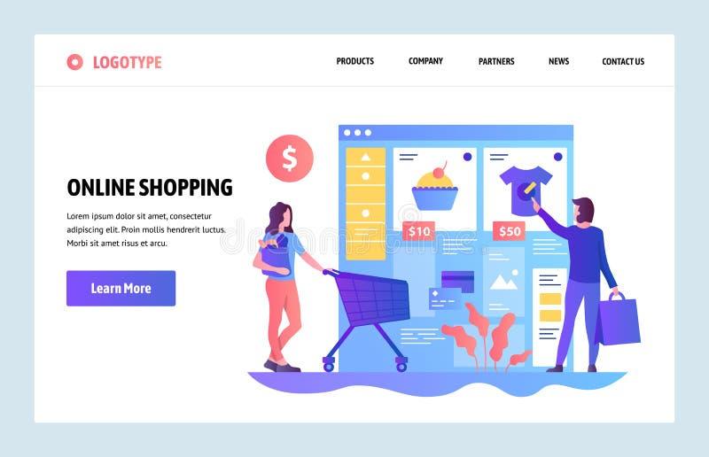 Wektorowy strony internetowej projekta szablon Online zakupy, internetów ubrań sklep Sprzedaż i konsumeryzm Desantowi stron pojęc royalty ilustracja