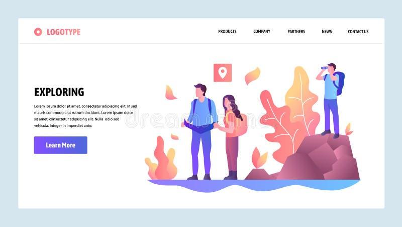 Wektorowy strony internetowej projekta szablon Przygody podróż i plenerowy badać Desantowi stron pojęcia dla strony internetowej  royalty ilustracja