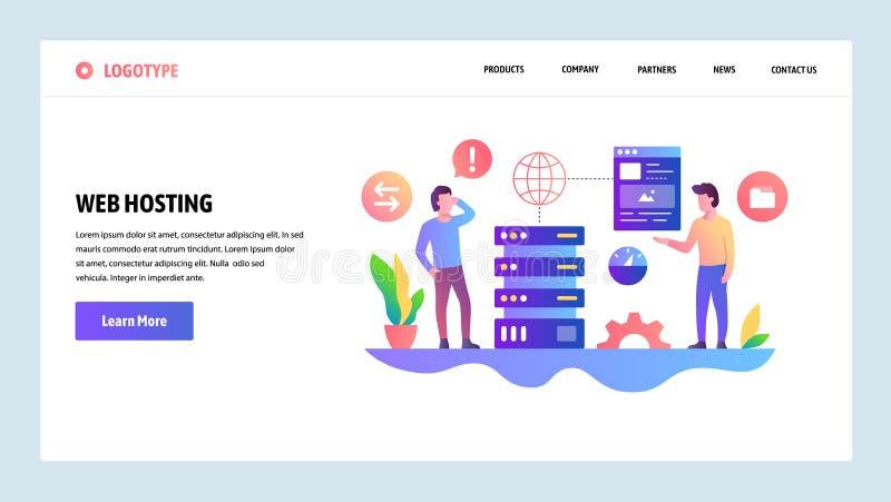 Wektorowy strony internetowej projekta szablon Web hosting i datacenter Desantowi stron pojęcia dla strony internetowej i wisząca royalty ilustracja