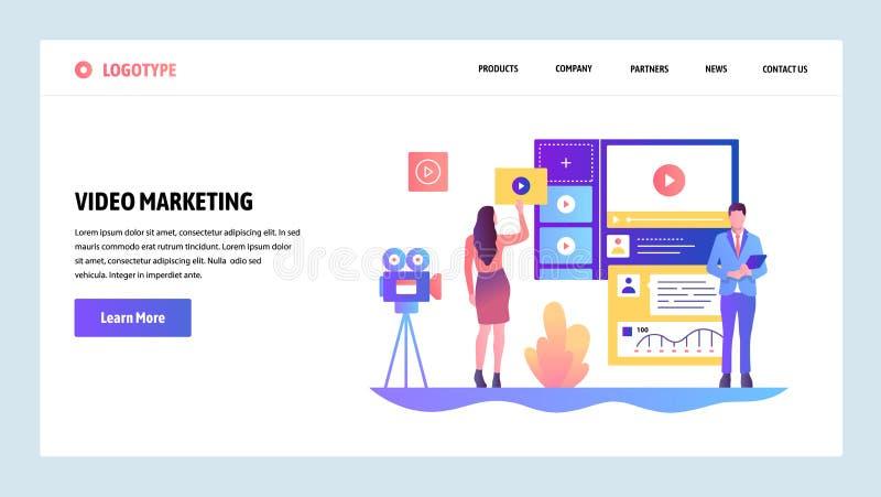 Wektorowy strony internetowej projekta szablon Wideo marketing i reklama Desantowi stron pojęcia dla strony internetowej i wisząc ilustracja wektor