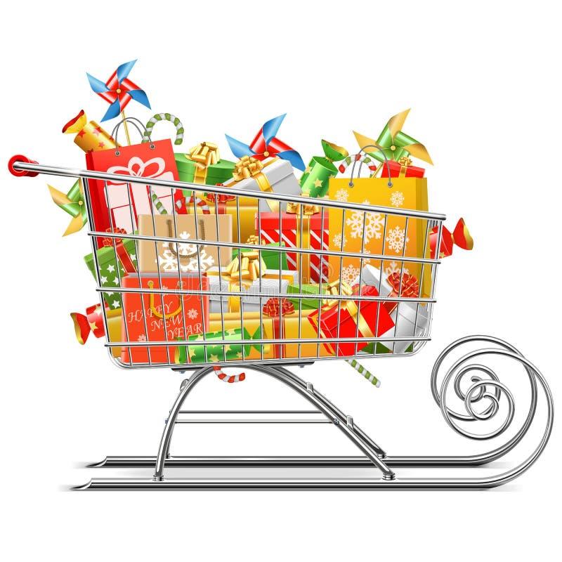 Wektorowy supermarketa sanie z prezentami royalty ilustracja