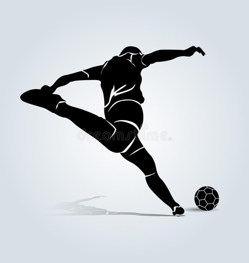 Wektorowy sylwetki kopania futbolista ilustracja wektor
