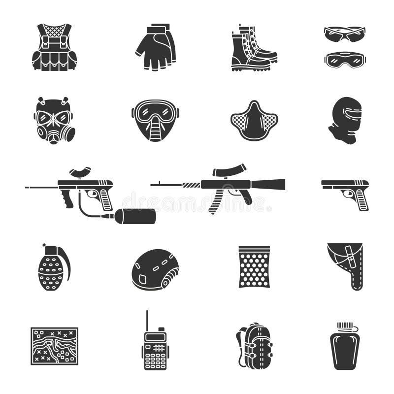 Wektorowy sylwetki paintball lub airsoft ikony set ilustracji