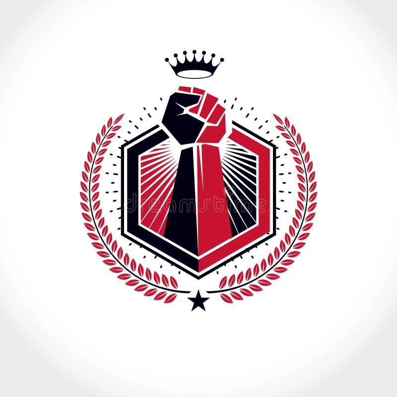 Wektorowy symbol tworzył używać nastroszoną pięść mięśniowy mężczyzna, laurowy wianek i królewska korona, ilustracja wektor