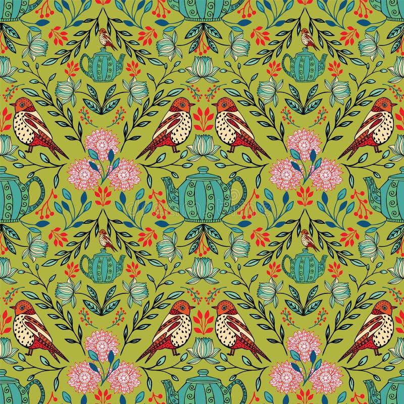 Wektorowy symetryczny kwiecisty bezszwowy wzór z ludowej sztuki motywami royalty ilustracja