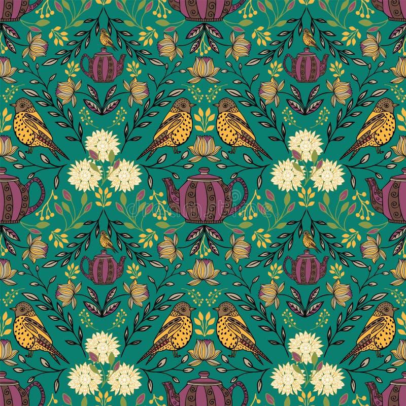 Wektorowy symetryczny kwiecisty bezszwowy wzór z ludowej sztuki motywami ilustracja wektor