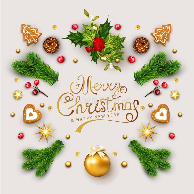 Wektorowy szablon dla bożych narodzeń i nowego roku z dekoracji b royalty ilustracja