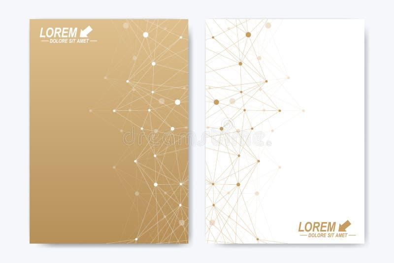 Wektorowy szablon dla broszurki, ulotki, ulotki, ogłoszenia, pokrywy, katalogu, magazynu lub sprawozdania rocznego, geometryczny  royalty ilustracja