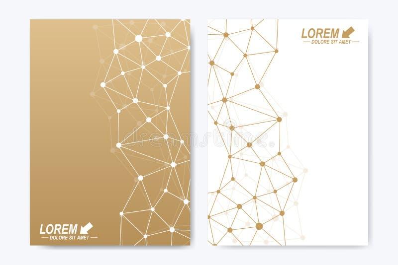 Wektorowy szablon dla broszurki, ulotki, ulotki, ogłoszenia, pokrywy, katalogu, plakata, magazynu lub sprawozdania rocznego, geom royalty ilustracja