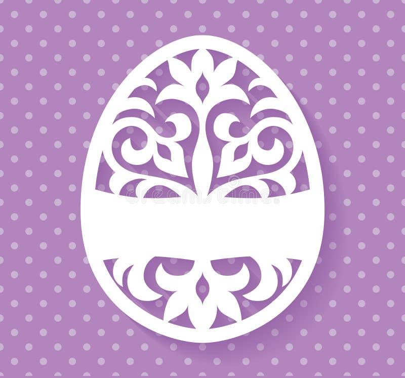 Wektorowy szablon dla laseru Wielkanocnego jajka rżniętego kartka z pozdrowieniami, etykietki, zaproszenia lub wnętrza elementu z ilustracja wektor