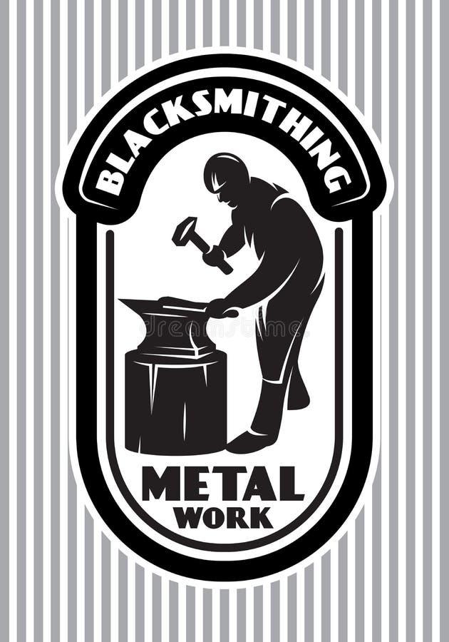 Wektorowy szablon dla loga w retro stylu z blacksmith młotem, kowadło w smithy royalty ilustracja