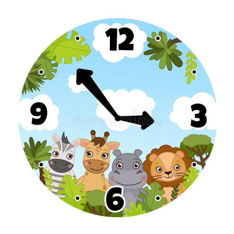 Wektorowy szablon dziecko zegarki ilustracji