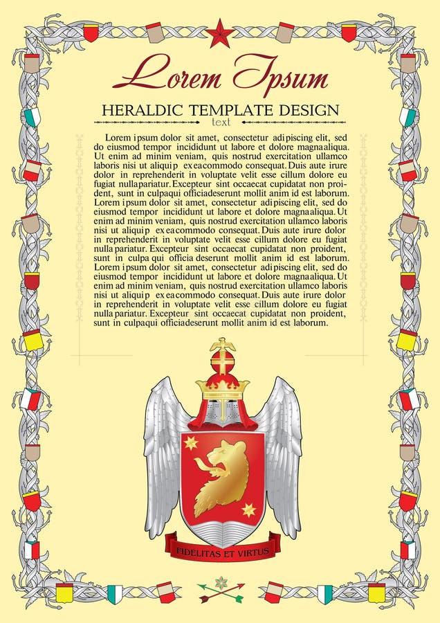 Wektorowy szablon heraldyczny status z hełmem ilustracja wektor