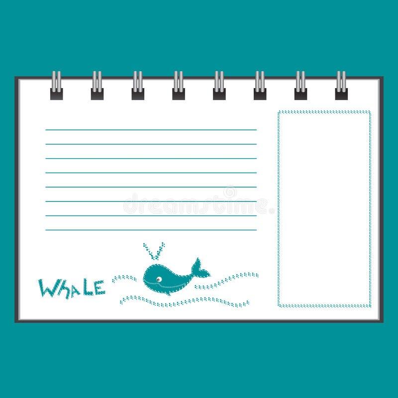 Wektorowy szablon notatnik lub sketchbook na błękitnym tle ilustracji