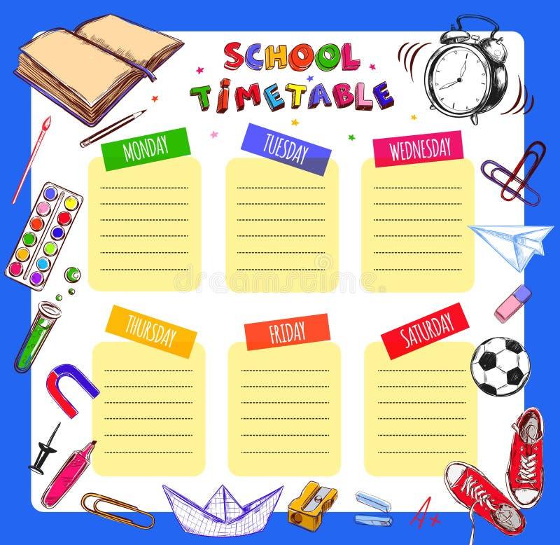 Wektorowy szablon szkoły rozkład zajęć dla uczni i uczni Ilustracja zawiera wiele ręka rysujących elementy szkolne dostawy Schoo ilustracja wektor