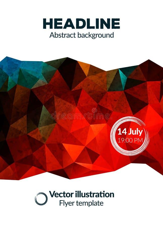 Wektorowy szablon z abstrakcjonistycznym niskim wieloboka tłem dla Plakatowego broszurki ulotki projekta układu ilustracja wektor