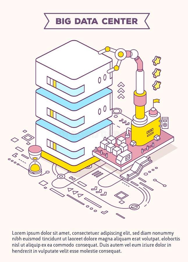 Wektorowy szablon z ilustracją serwer, hourglass i trzy, ilustracji