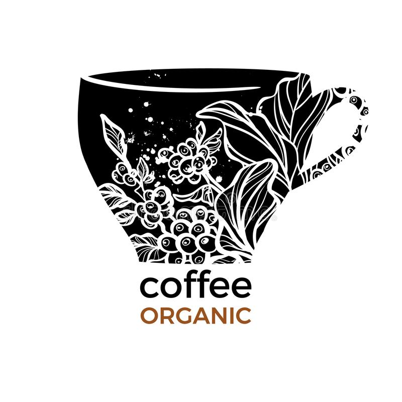 Wektorowy szablon z kształtem filiżanka i kawa rozgałęziamy się royalty ilustracja