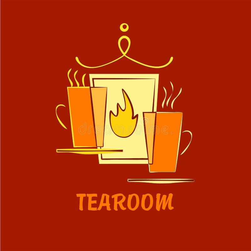 Wektorowy szablonu logo dla herbacianego pokoju, podmiejska kawiarnia, hotel, premia royalty ilustracja