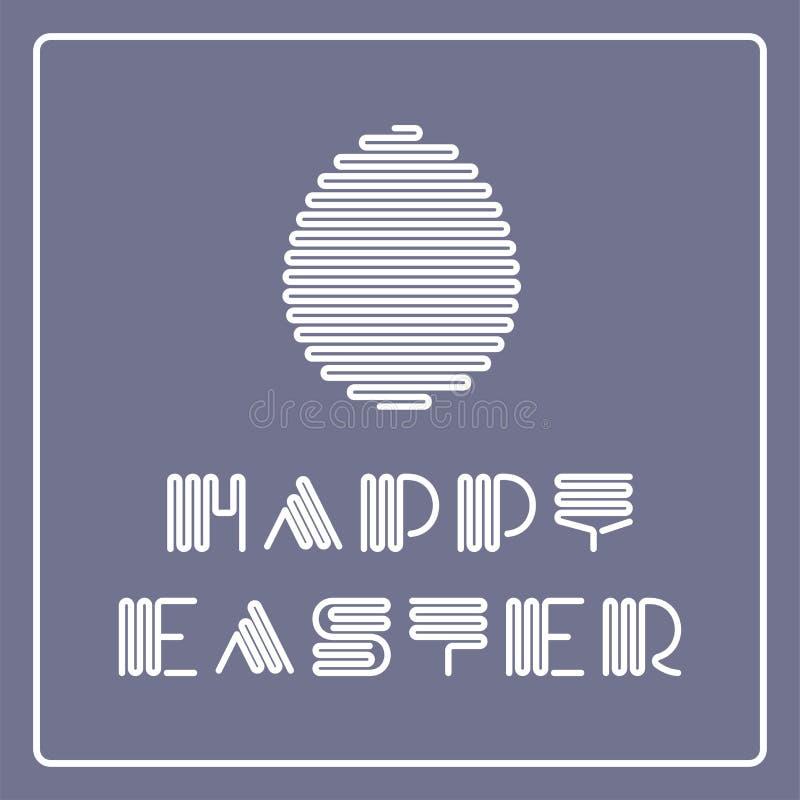 Wektorowy szczęśliwy Easter tło z pasiastą elegancką chrzcielnicą i jajkiem Kreatywnie prosty projekt Wakacyjna kartka z pozdrowi ilustracji