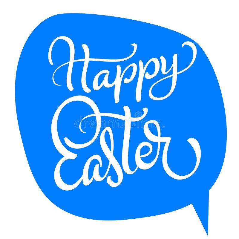 Wektorowy szczęśliwy Easter tekst na błękitnym tle Kaligrafii literowania Wektorowa ilustracja EPS10 ilustracji