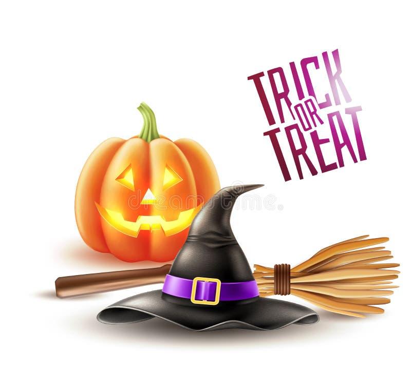 Wektorowy szczęśliwy Halloween czarownicy plakatowy kapelusz, miotła ilustracji