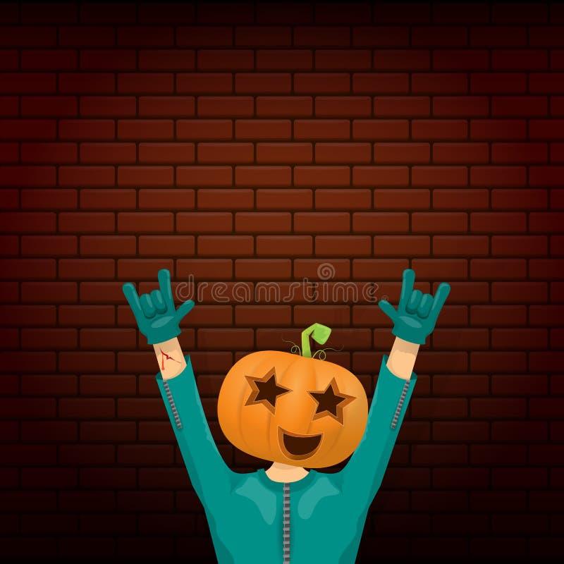 Wektorowy Szczęśliwy Halloween modnisia przyjęcia kreatywnie tło mężczyzna w Halloween kostiumu z rzeźbiącą bani głową na cegle royalty ilustracja