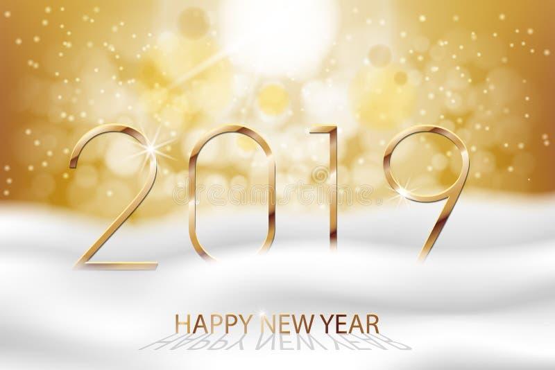 Wektorowy Szczęśliwy nowy rok 2019 - nowy rok zimy Kolorowy tło z złocistym tekstem Powitanie nowego roku sztandar z śniegiem i royalty ilustracja