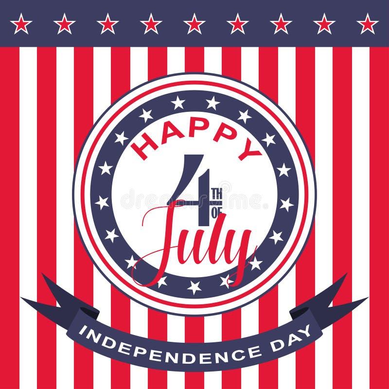 Wektorowy Szczęśliwy 4th Lipa tło USA dzień niepodległości royalty ilustracja