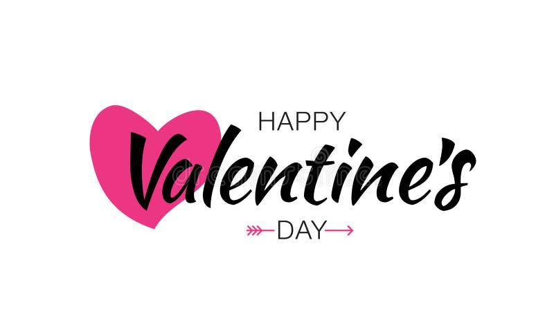 Wektorowy Szczęśliwy walentynka dnia literowania karty tło Z Różowym sercem ilustracji