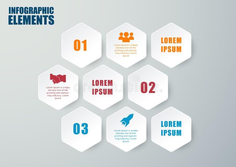 Wektorowy sześciokąt infographic kroki lub procesy ilustracja wektor
