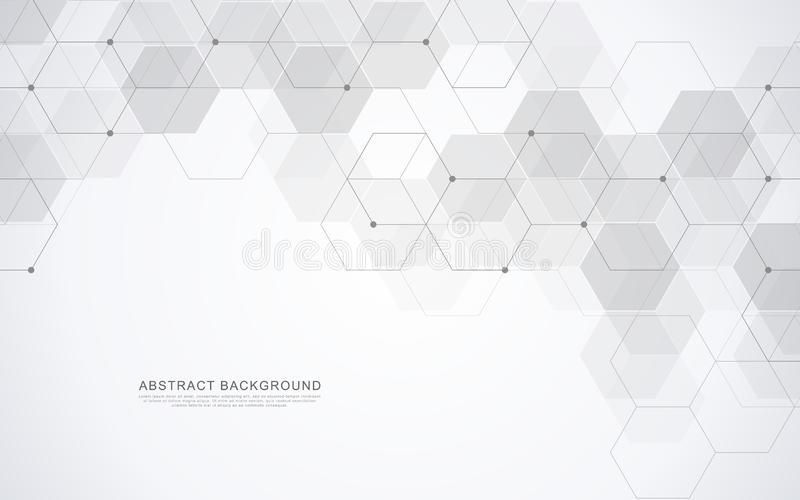 Wektorowy sześciokąta wzór Geometryczny abstrakcjonistyczny tło z prostymi heksagonalnymi elementami Medyczny, technologia lub na royalty ilustracja