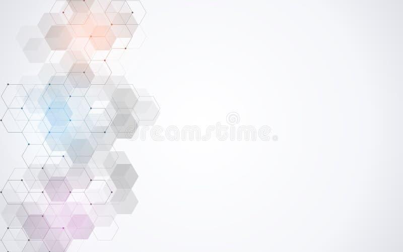 Wektorowy sześciokąta wzór Geometryczny abstrakcjonistyczny tło z prostymi heksagonalnymi elementami Medyczny, technologia lub na ilustracja wektor