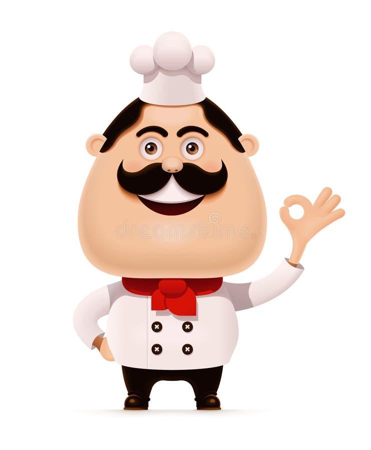 Wektorowy szef kuchni z wąsy pokazuje akceptującą gest ikonę ilustracja wektor