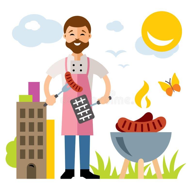 Wektorowy szefa kuchni grill Mieszkanie kreskówki stylowa kolorowa ilustracja ilustracji