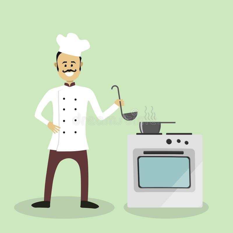 Wektorowy szefa kuchni kucharz ilustracji