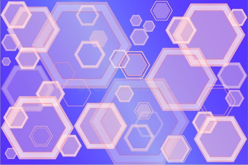 Wektorowy sztandar abstrakcjonistyczni sześciokąty różni stopnie przezroczystość ilustracja wektor