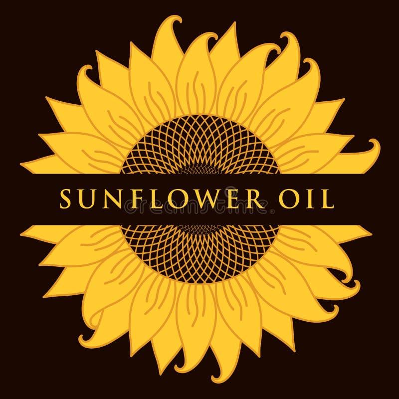 Wektorowy sztandar dla słonecznikowego oleju z inskrypcją ilustracja wektor