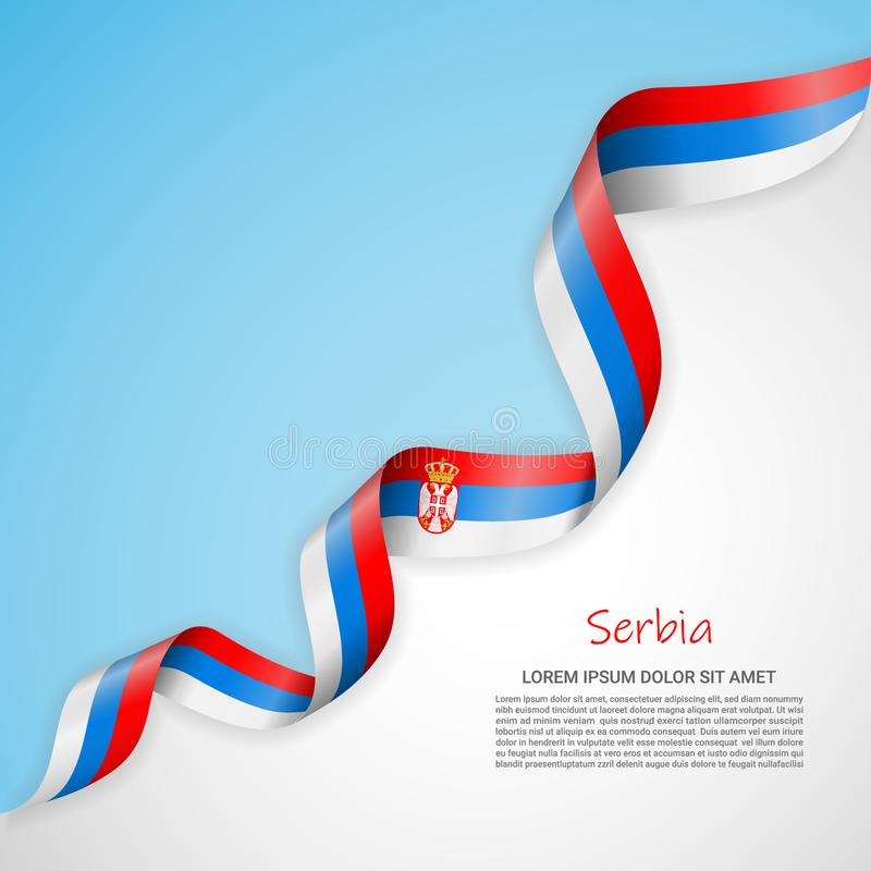 Wektorowy sztandar w kolorach, falowanie faborek z flagą Serbia i Szablon dla plakatowego projekta, broszurki ilustracji