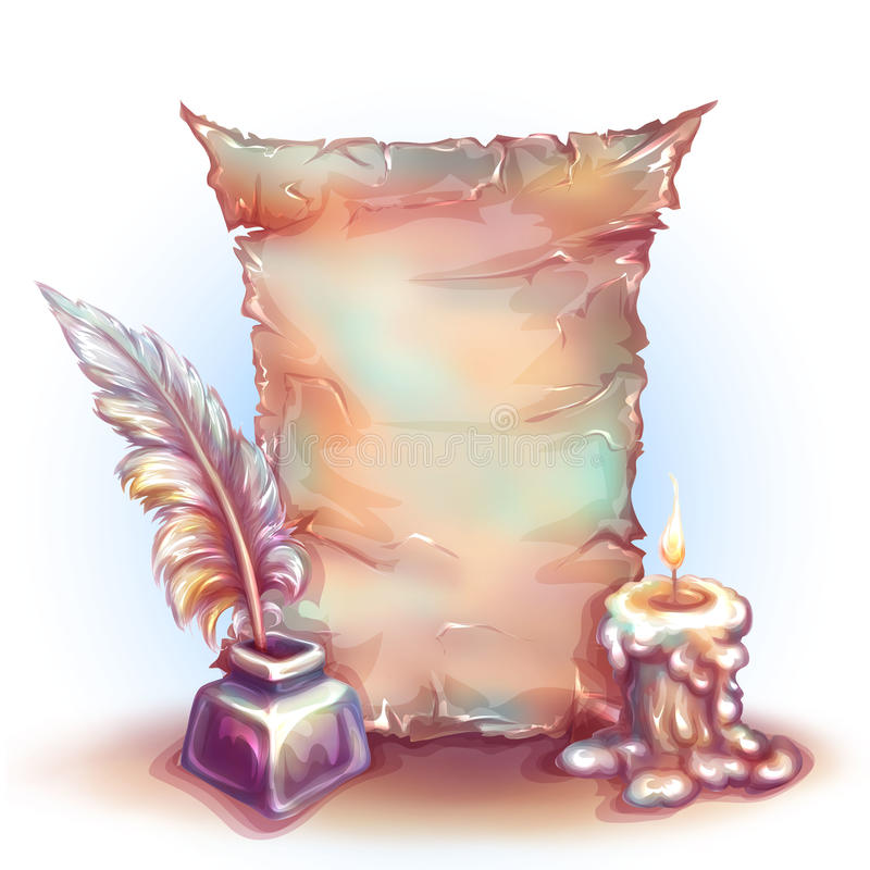 Wektorowy sztandar z świeczką, pieniądze i piórkiem, royalty ilustracja